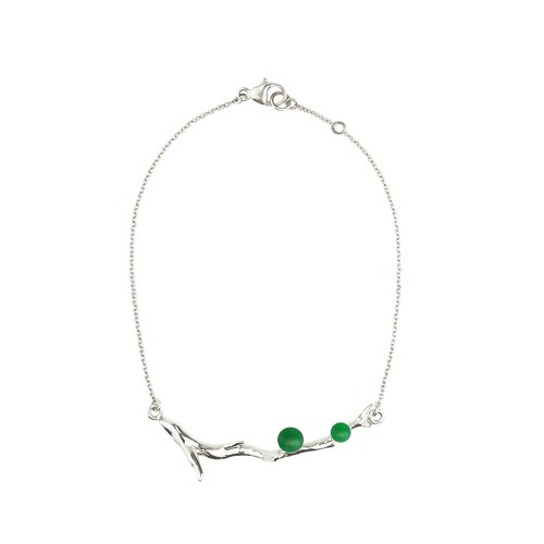 Colored gemstones Silver Bracelet VERT LAURIER branches