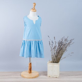 Sea water blue straps dress hand-made non-toxic children's clothing parent-child equipment