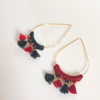 Bujielite- Crochet Gold Tear Drop Hoop Earring_with red thread and mini tassel