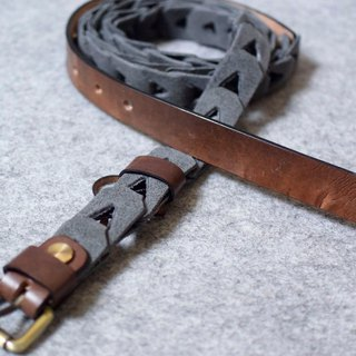 YOURS Knotted Combination Leather Belt Dark Wood + Grey Suede