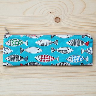 Color fish zipper wide chopsticks bag _ blue