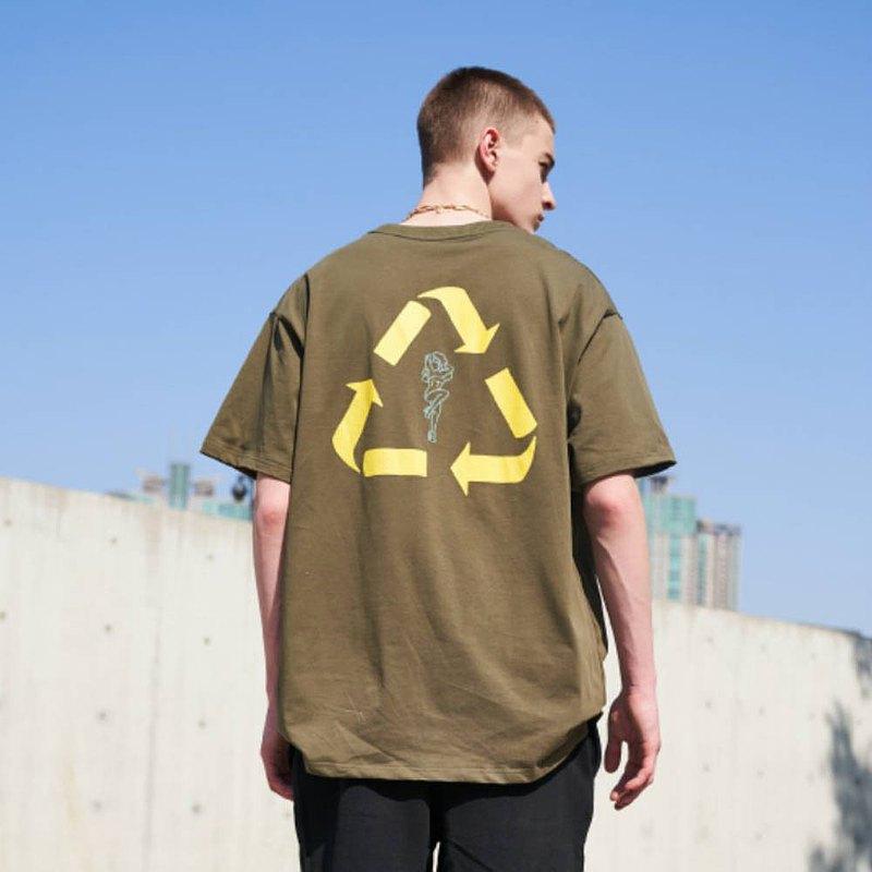 PROZAK 軍綠色 經典回收標誌純棉T恤 中性寬鬆印花圓領上衣情侶裝