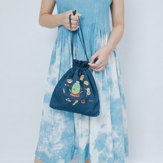 Embroidered Cotton Canvas Denim Across-Body Bag - I Have Big Stomach
