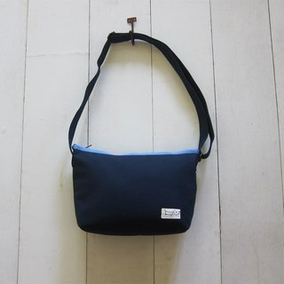 Shoulder Backpack Series - Canvas S Navy Blue + Light Blue (Zip Opening Style)