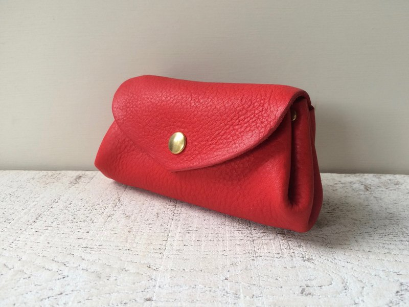 Korokoro Wallet Japan Leather fave Tomato Red M Size