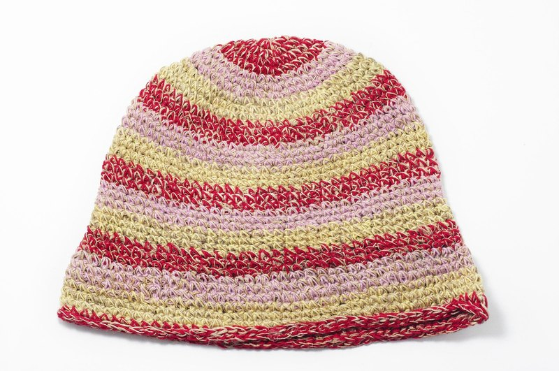 Valentine's Day gift hand-woven hat / knitted caps / hand-woven cotton cap / wool cap / hat (made in nepal) - National Wind colored striped cotton hat Hemp