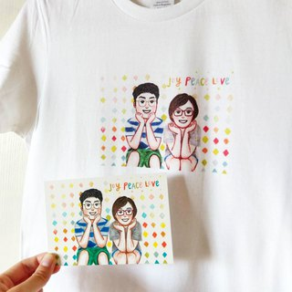 Special offer: Hand-painted cotton couple / friends - double cotton T (including original painting)