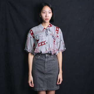 FOAK vintage pop hand-painted dot cement gray shirt