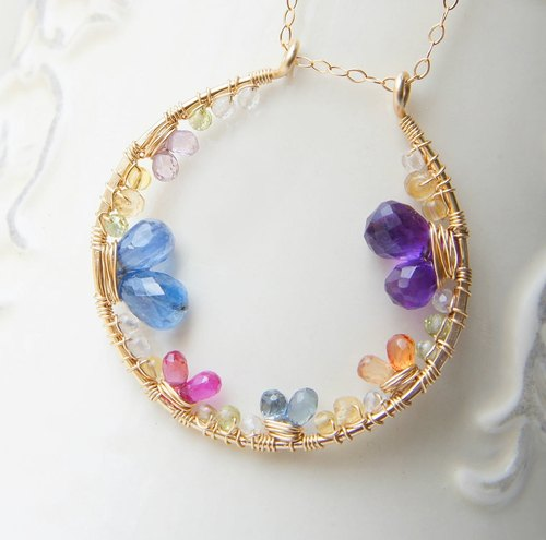 Multicolor Circle Pendant Necklace, Round Pendant, Sapphire Kyanite Gemstones Necklace
