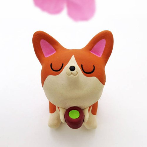The tea time corgi CM1 Ceramic corgi figurine