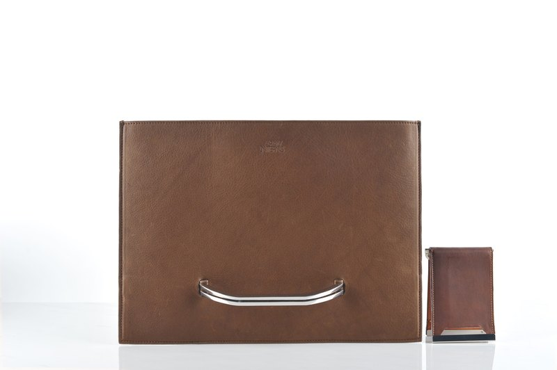 SALE Slate briefcase and Raze wallet set in brown distressed leather (SET)