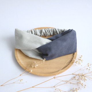 MaryWil Double Suede Hair Band - Grey/Dark Blue