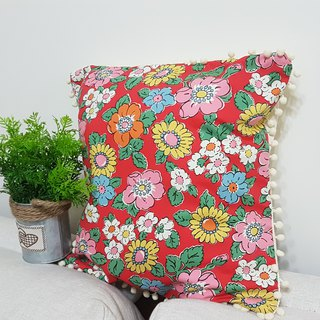 Nordic pastoral style retro classic bright flower pattern, small white ball hair pillow / pillow
