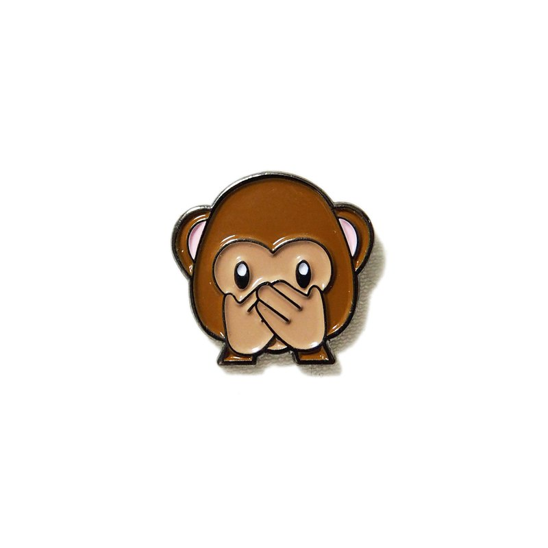 Speak No Evil Monkey Emoji Pin