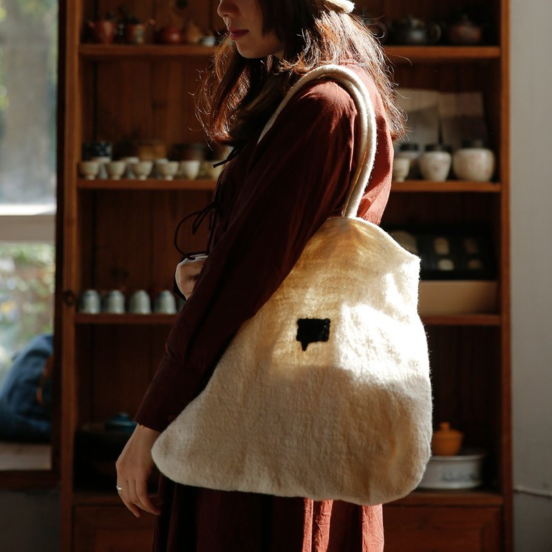 Tatar original design handmade felt big bag pure wool foldable bag women bag shoulder bag Japanese literature and art