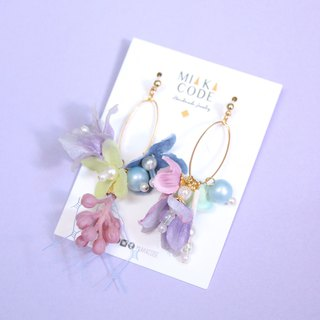 Pink Series Gauze Flower Pearl Earrings / Ear Clips