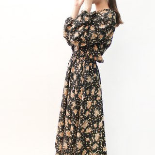 Japanese vintage cute loose black flowers long-sleeved vintage dress Japanese Vintage Dress