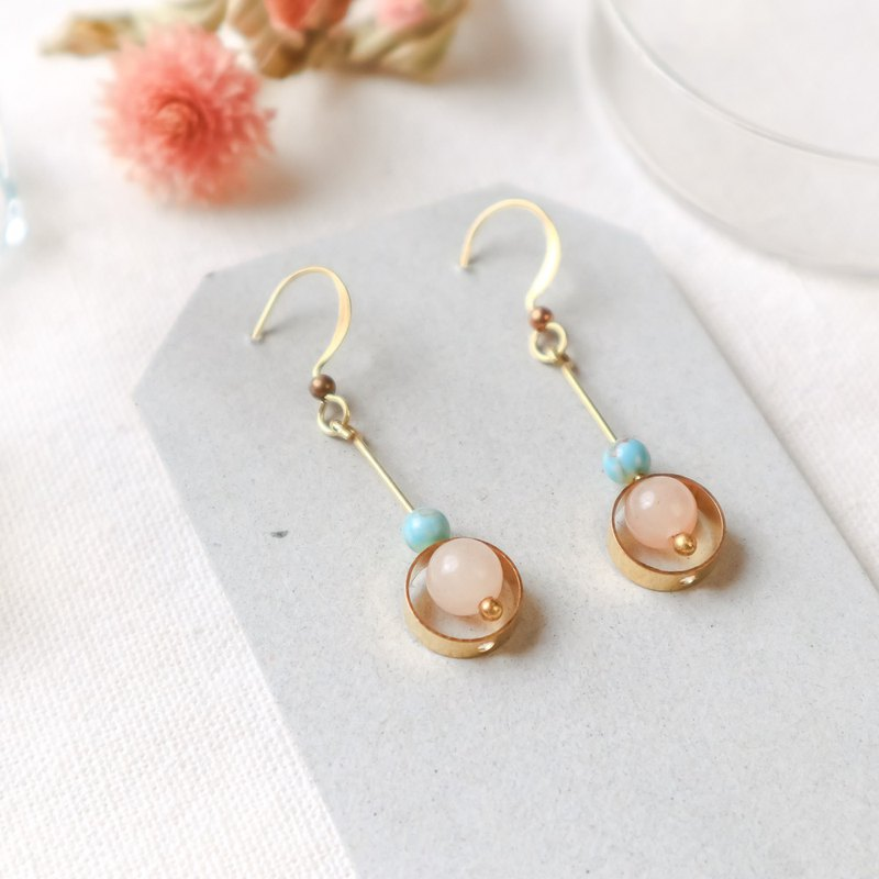 Natural stone geometric brass earrings - dull