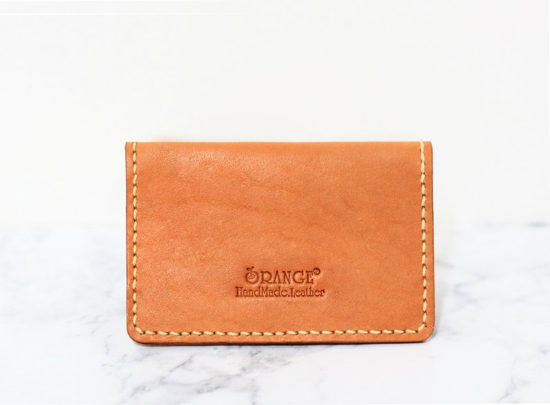 Small orange peel vegetable tanned leather business card holder / business card holder