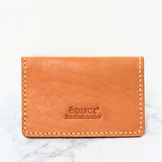 Small orange peel tanned leather business card holder / card holder