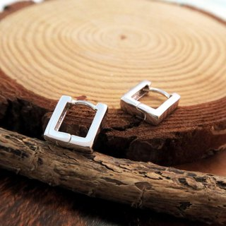 Easy buckle / ring earrings U-shaped barbs (square line 11mm) Easy button style sterling silver earrings -64DESIGN