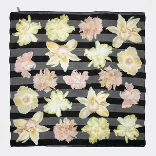 Black bottom perspective horizontal stripes vintage flower antique silk scarf BL0006