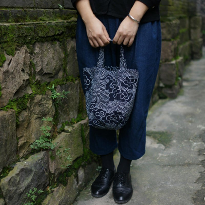 Dark blue moiré pattern plant printing and dyeing tote bag single layer green bag shopping bag sundries storage bag