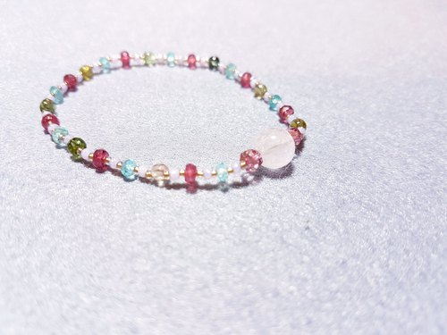 Dotdot | small round colorful tourmaline x red spinel x light blue apatite x crystal can be purple