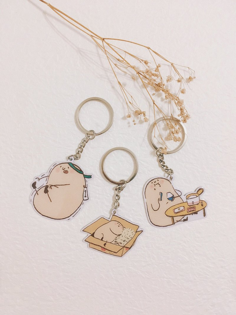 Mr. Lazy Potato 5cm metal charm/ key ring *3