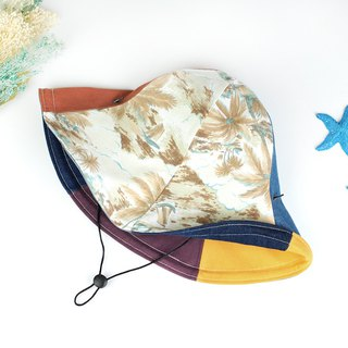 The calf village manual double-sided cap men and women big hat skull hat can be bent wind rope detachable ocean beach [sea breeze vacation day] warm brown [HB-13]