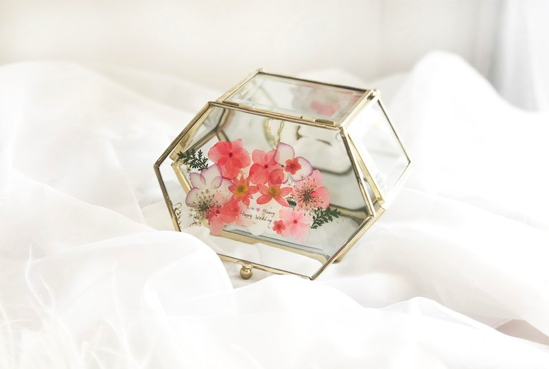 Pressed flower with Handwriting Accessory Jewelry Glass Box/ Wedding Gifts