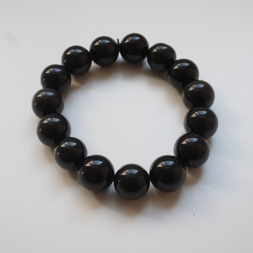 ☽ Qi Xi hand for ☽] [07293-14m obsidian bracelet 14mm