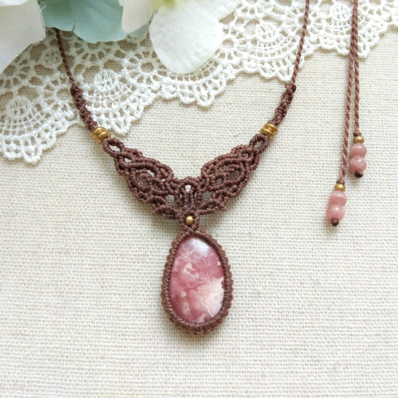 BUHO hand made. Andes rose. Red Stone X South American Brazilian Wax Necklace