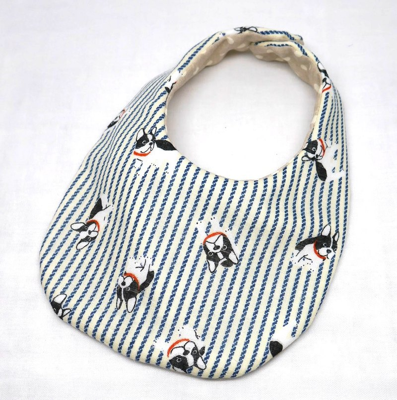 Japanese Handmade 4-layer-double gauze Baby Bib /Frenchbulldog blue