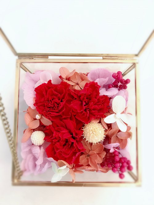 Mother's Day Died Gift Box / Red Carnation / Gold Glass Box