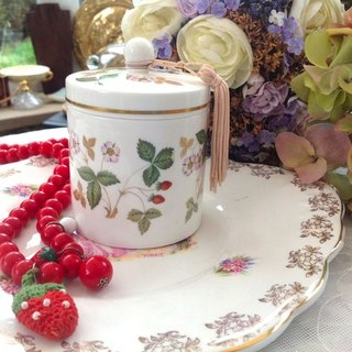 British bone china royal wedgwood Wild Strawberry wild strawberry candy jar tea can brand new