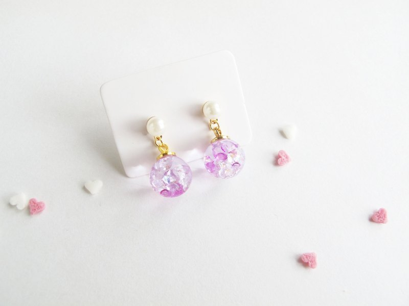 Rosy Garden Cherry blossom purple crystal earrings