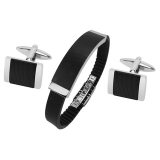 Stainless Steel IP Black Zebra Texture Cufflinks and Bracelet Set