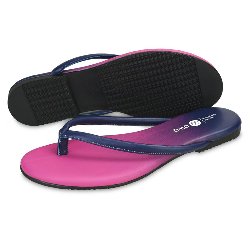 Super soft wear-resistant leather character flip flops colorful series sapphire blue lining no gravity insole ultra comfortable and rainy weather can wear