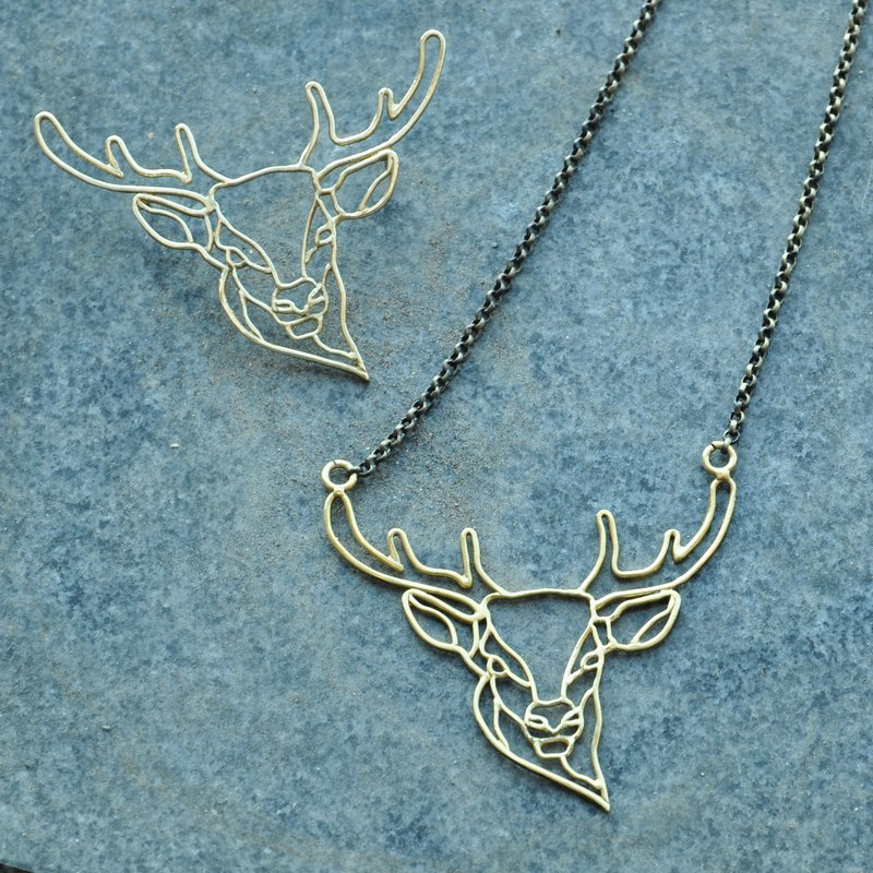 . Above the vegetation. NO.02 Brass Deer Necklace