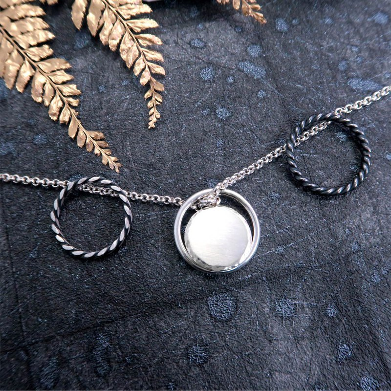 Feel-forged series men's round 墬 + hanging ring 925 sterling silver necklace
