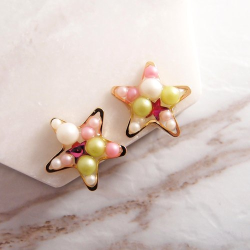 STAR ★ clip-on earrings OR piercing earrings