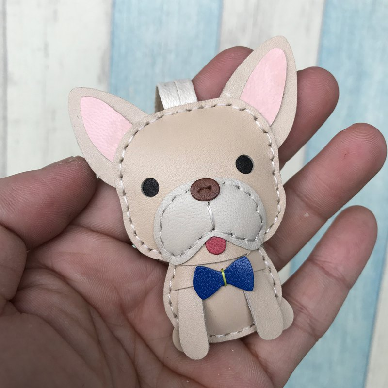 Beige cute law dog pure hand-stitched leather charm small size