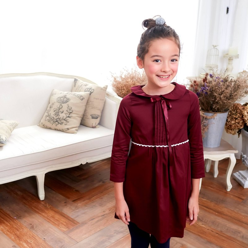 (Mommy & Me) Burgundy dress with ruffles (infant/toddler/girl)