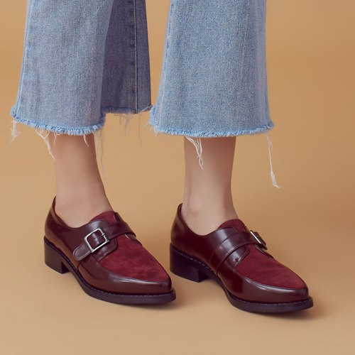 Improved Kai-style! Do not wear foot soft core two-color Munch shoes wine red MIT full leather