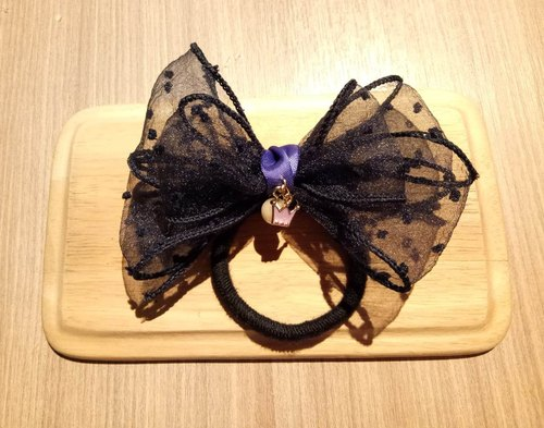 [French elegant dark blue point double bow] yarn hair ring hairpin hair band hair accessories graduation gift