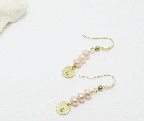 <Eternal> Natural Pink Pearl Hand Knock Totem Brass Earrings Light Jewels Mother's Day Valentine's Day Birthday Gift Anniversary Party Party Exchange Gift Christmas