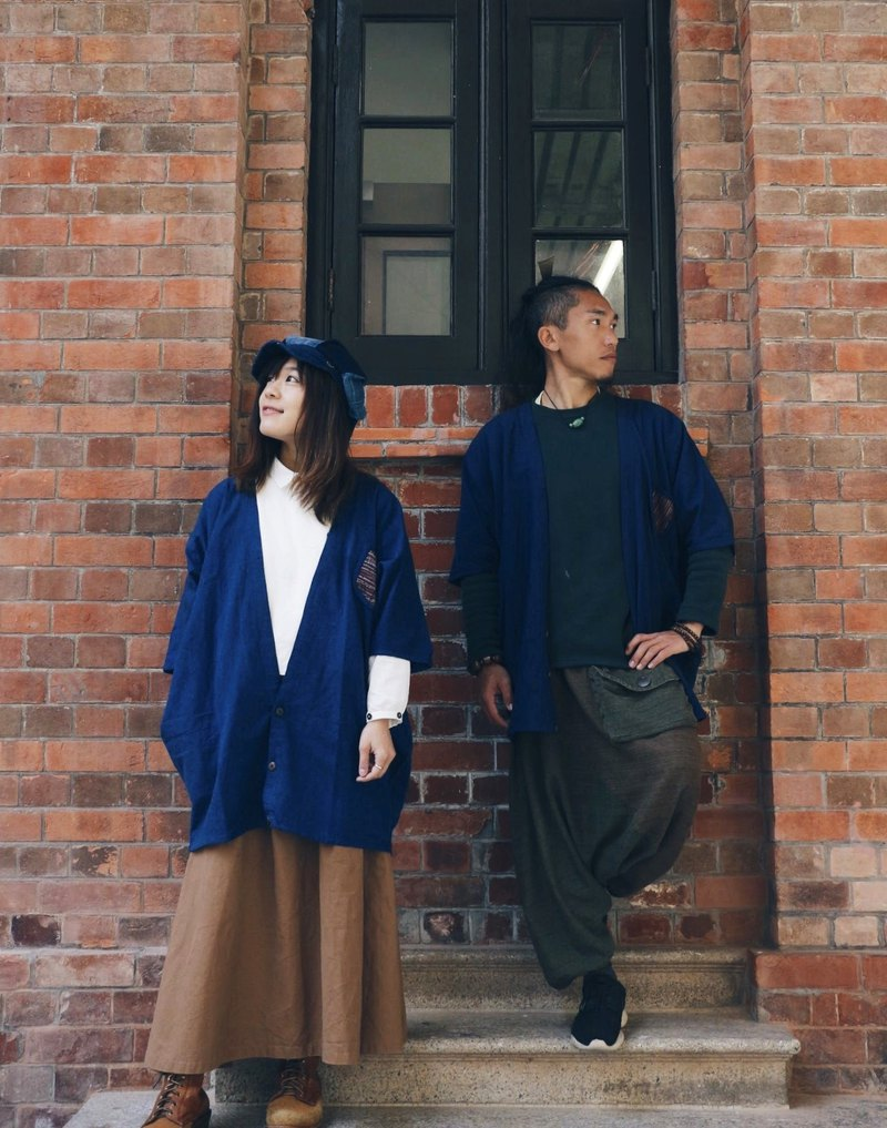 【Comfortable Japanese Style Cotton Linen Unisex Kimono Jacket with Handwoven Poc