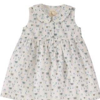 100% Organic Sleeveless dress with Peter Pan collar, Ilamas