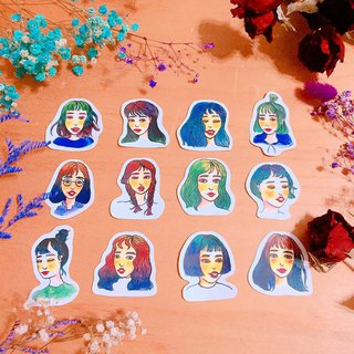 Gradient girl sticker set